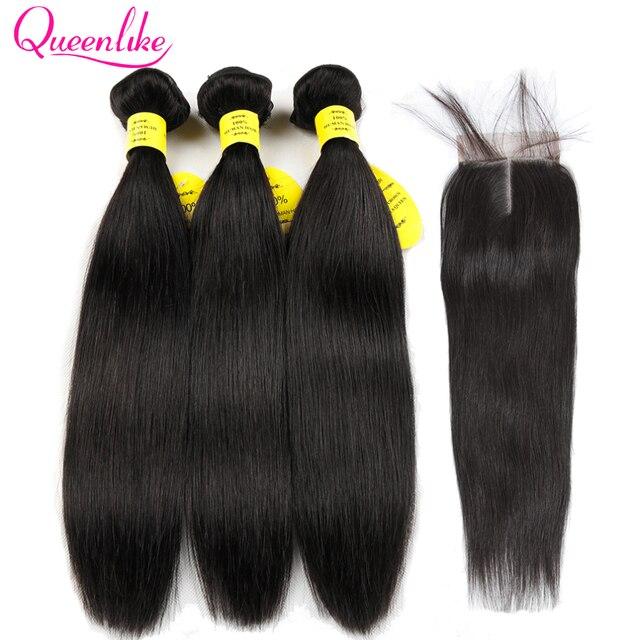 Paquetes de tejido de cabello humano Queenlike 100% con cierre de trama no Remy 2 3 4 paquetes de pelo lacio brasileño con cierre