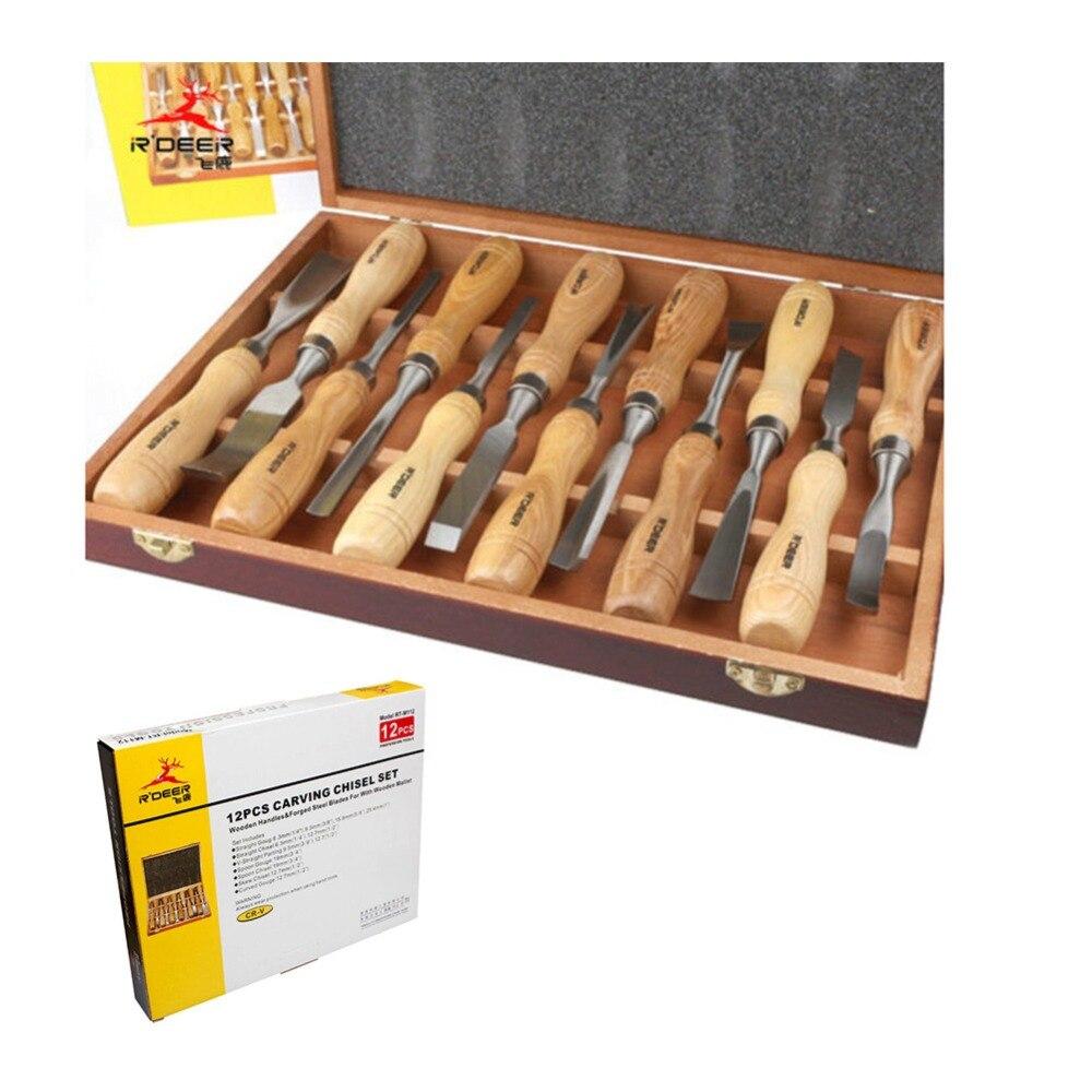 RDEER 12 шт. резьба по дереву стамеска набор инструментов резчиков нож для гравировки для резьбы по дереву долото DIY детальная ручная инструменты - 2