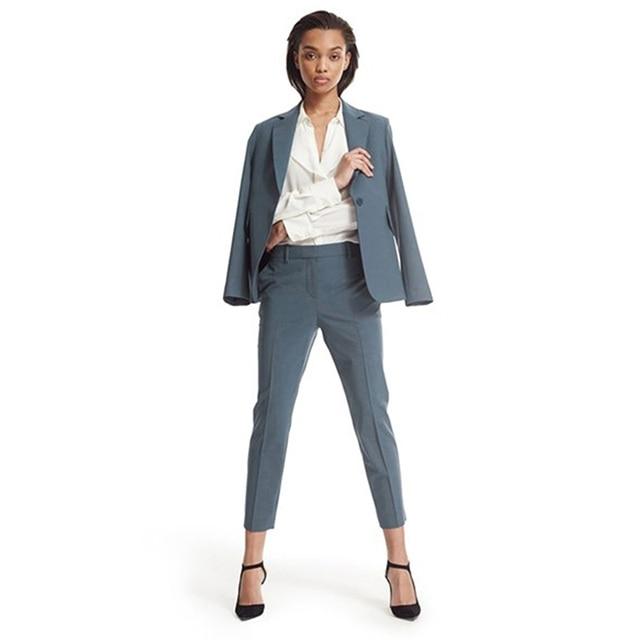Winter Work Wear Women Pant Suit Slim Fit Elegant Formal Dark Lake Blue Long Sleeve Blazer With ...