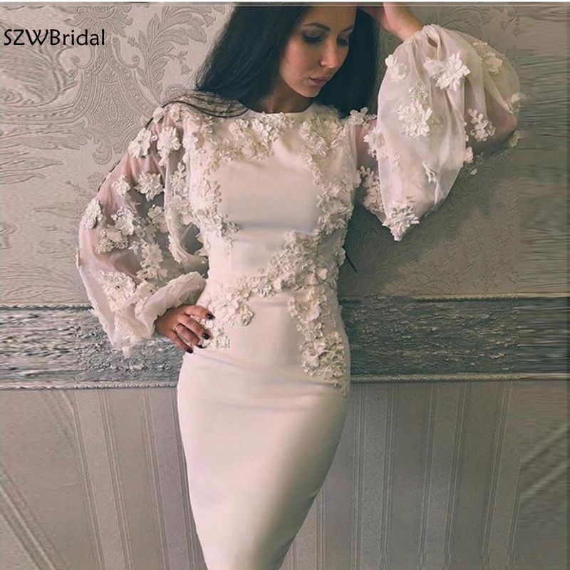 New Arrival Long sleeve evening dresses 2019 Flower 3D lace short evening gown robe de soiree abendkleider muslim evening dress