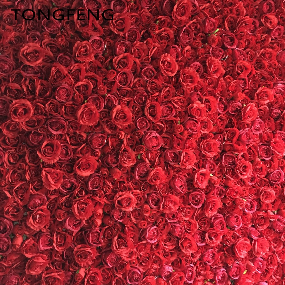 24pcs lot Artificial silk hydrangea rose 3D flower wall wedding backdrop decoration flower stage decoration Red