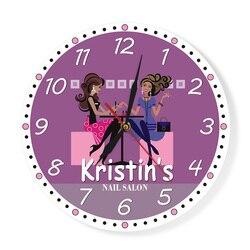 Nail Tech nowoczesny zegar ścienny Salon kosmetyczny Spa dekoracja wydrukowano spersonalizowany zegar ścienny manicure Salon niestandardowy technik prezent