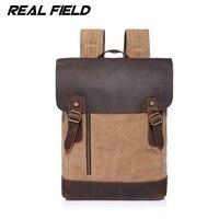 Real Field Genuine Leather Canvas Backpack Men Military Backpack Vintage Thick Canvas School Backpack Shoulder Bag