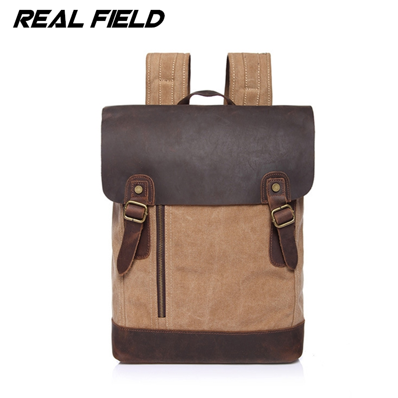 Real Field Genuine Leather Canvas Backpack Men Military Backpack Vintage Thick Canvas School Backpack Shoulder Bag Rucksack 242 army green canvas backpack bag rucksack army military backpack leather canvas book bag rucksack school bag