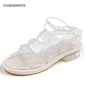 VIISENANTIN 2019 Summer Open Toe PVC Flat Sandals Chic Strappy Beach Shoes for Holiday Transparent Clear Shoes Gladiator Sandals