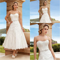 Honey Qiao Short Wedding Dresses A Line 2017 Ankle Length Full Lace Little with Belt White Dress Vestidos de Novia Bridal Gowns