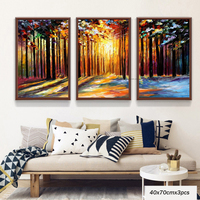 MUYA Hand Painted Palette Knife Painting Acrylic Painting 3 Piece Canvas Oil Painting Modern Tree Wall