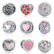 DIY heart beads coeur jewelry bijoux bracciale bisuteria french bead silver perfumes mujer originales bracelet charms(China)