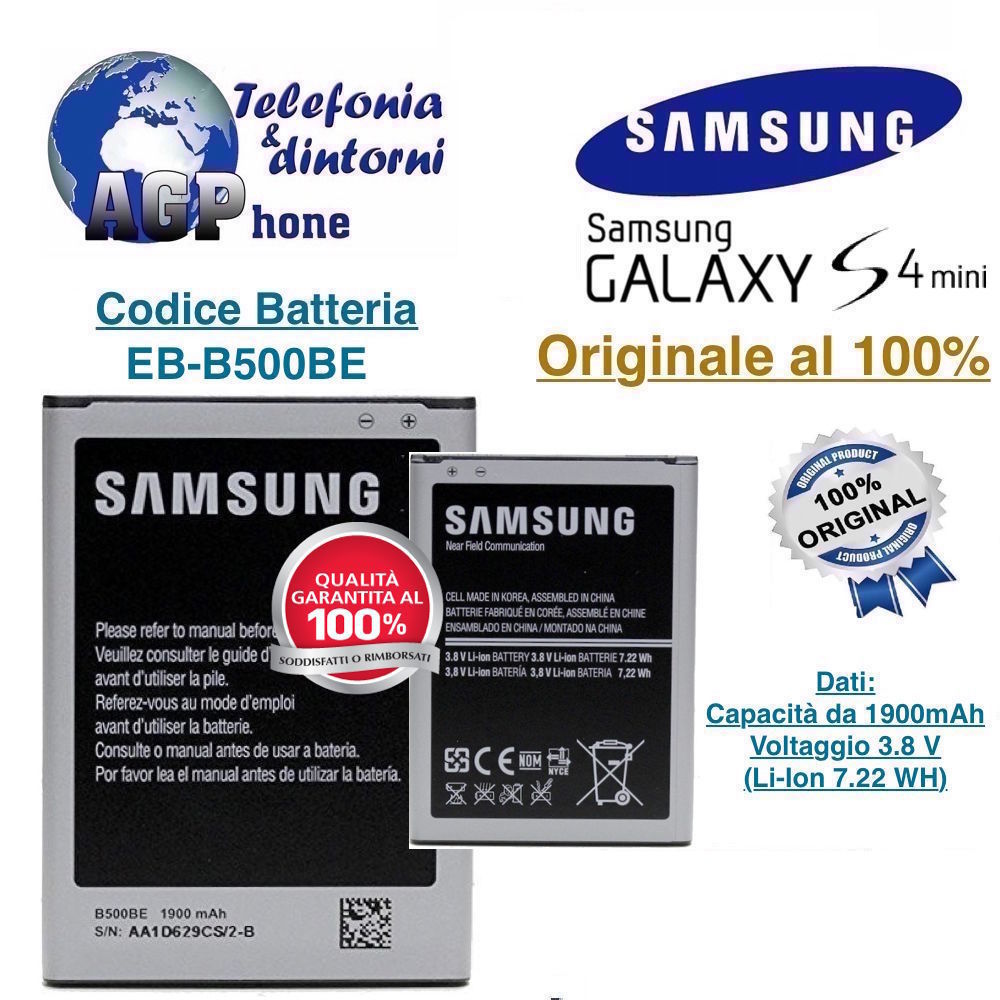 100% Original Samsung Battery For Samsung Eb-b500be Galaxy s4 Mini GT i9190 i9195 Battery (4 Pin) 1900mAh