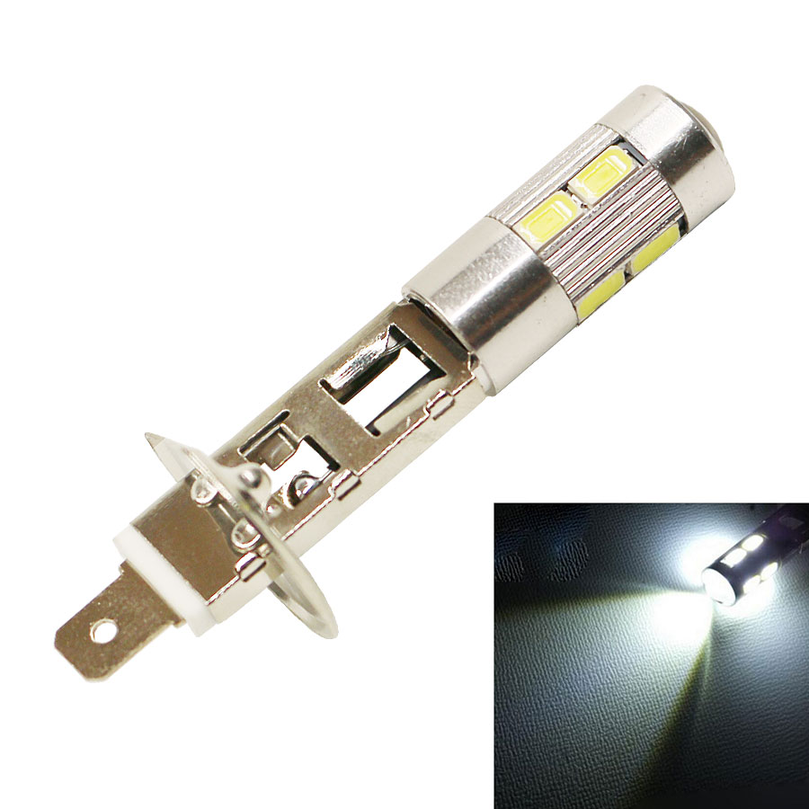 Car Auto H1 10SMD 5730 LED Fog Light Head Lamp Driving Bulb Replacement Bulbs White(12V 1PC) Pack of 2 2x h3 9 led smd car auto xenon white fog driving head light lamp bulb 6500k car styling lights lamp automoblies