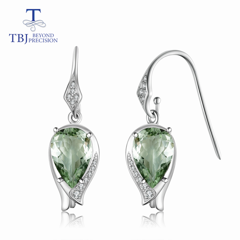 TBJ New style blooming flower Hook earring natural good luster green amethyst gemstone in 925 sterling