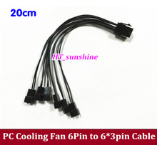 2PCS/LOT PC DIY PCI-E 6Pin to 6*4pin/3Pin Cooler Cooling Fan Socket Power Cable CORD 22AWG Wire