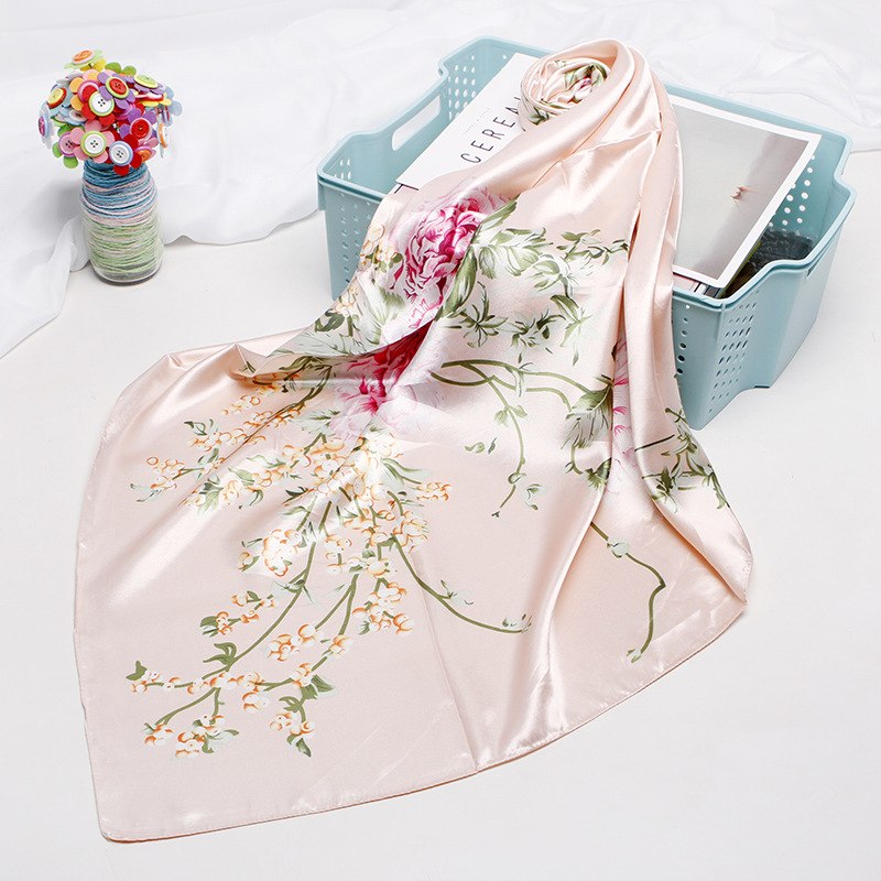 Fashion Kerchief Hair Scarf For Women Floral Print Silk Satin Hijab Scarfs 90*90cm Square Shawl Headband Scarves For Ladies 2019