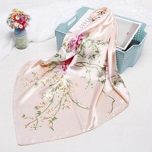 Fashion Kerchief Hair Scarf For Women Floral Print Silk Satin Hijab Scarfs 90*90cm Square Shawl Headband Scarves For Ladies 2019