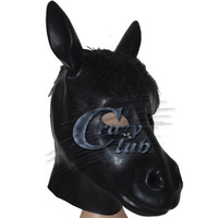 Crazy club_Black Latex Horse Mask with back zipper Head Halloween Costume Theater Prop Novelty Rubber Full Face Zentai Hood