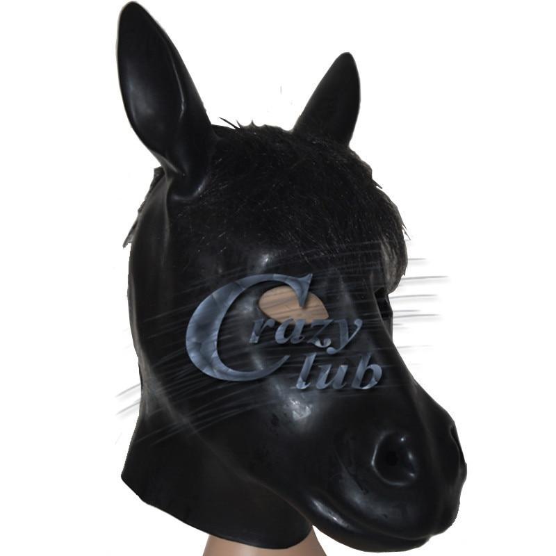 Masque de cheval en Latex noir Crazy club_Black avec tête à glissière arrière Costume d'halloween accessoire de théâtre nouveauté en caoutchouc visage complet Zentai capuche