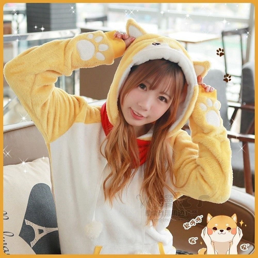 1pc Cute Girls Casual Coral Fleece Doge Hoodie Shiba Inu Dog Pattern Hooded Coat
