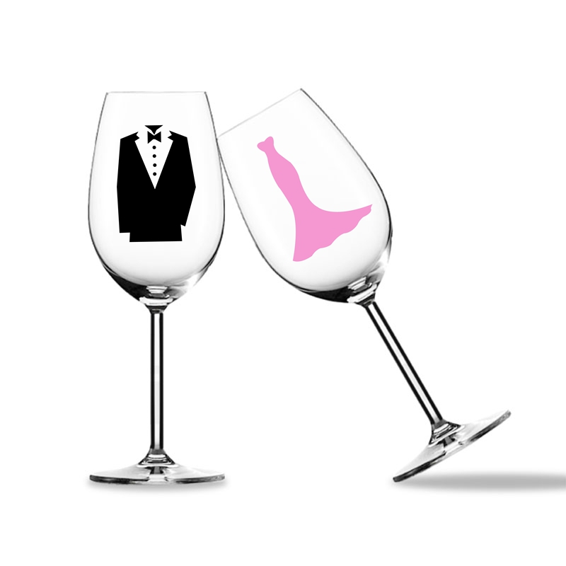 3pcs/Set Wine Glass Vinyl Decal Stickers For Wedding / Party Decoration , Ladies And Gentlemen Sign Decal Sticker Mugs Cups
