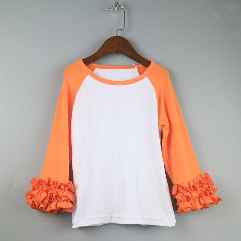 orange ruffle sleeve t-shirt girls icing shirts tunic style tshirts