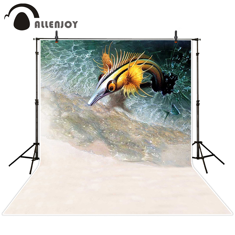Allenjoy photographic background Beach glass sea fish backdrops children wedding photo fabric 10x10ft