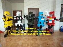 차가운 다채로운 로봇 Automaton 마스코트 의상 성인 크기 검은 장갑 하드 헬멧 차가운 눈 No.6628 무료 Shiping