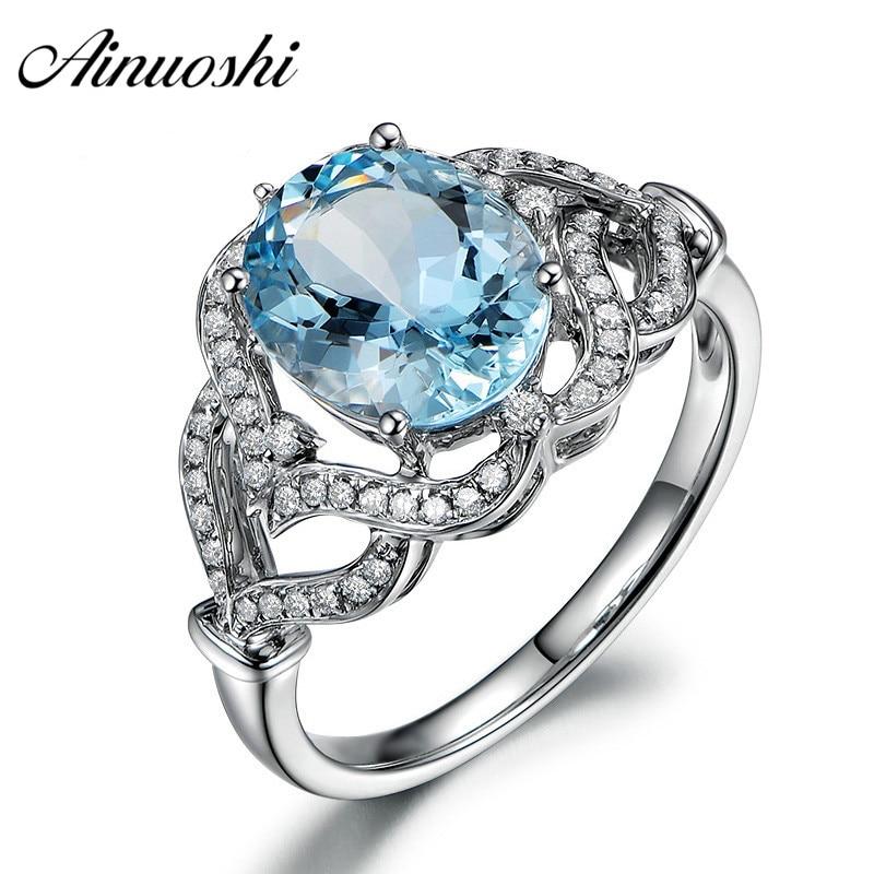 AINUOSHI pur 925 argent Sterling topaze bleue couronne anneau 3ct ovale coupe coeur bague de fiançailles Fine bijoux pour femme