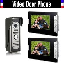 7 pulgadas Monitor Handfree Video puerta timbre del teléfono Intercom cámara Kits 1 Camera 2 monitorear visión nocturna llamada telefónica y de intercomunicación