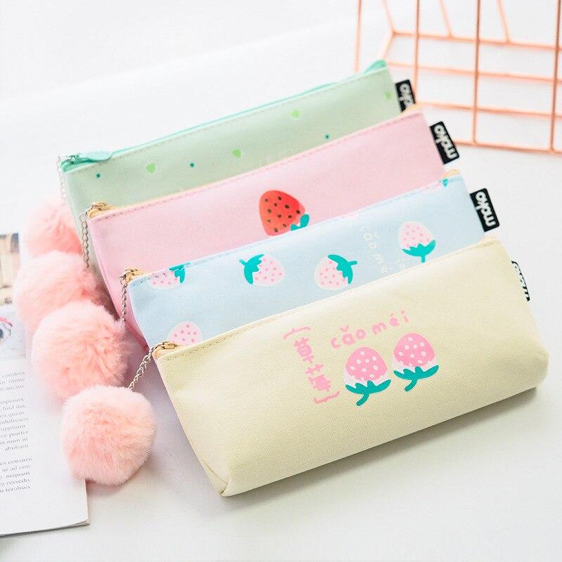 1Pcs Kawaii Pencil Case Strawberry sweetheart Gift Estuches School Pencil Box Pencilcase Pencil Bag School Supplies Stationery
