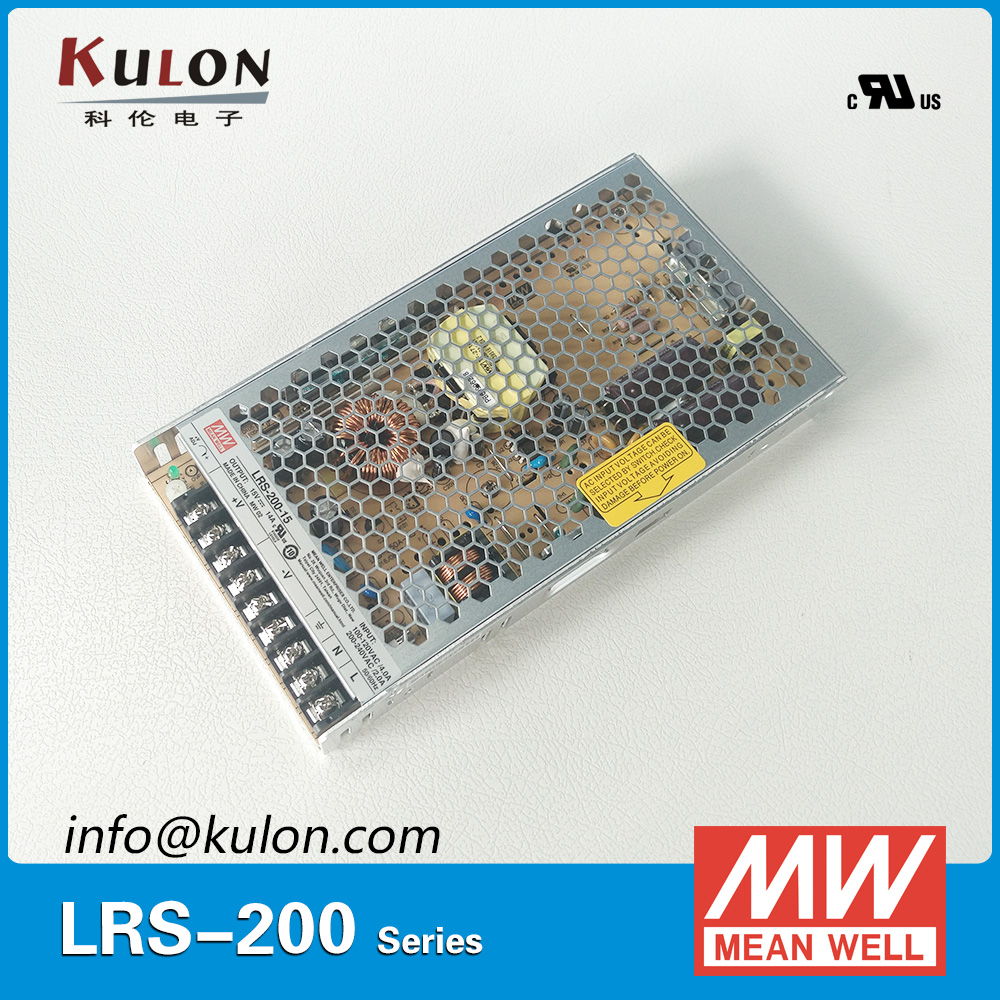 Genuine Meanwell Low Profile LRS-200-15 200W 15V 14A Mean Well AC/DC Switching Power Supply LRS-200 meanwell 12v 350w ul certificated nes series switching power supply 85 264v ac to 12v dc