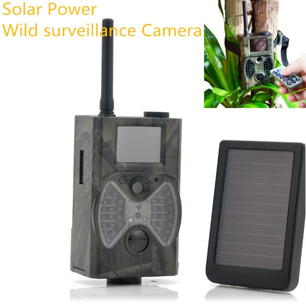 Panneau solaire chasse piste caméra noir IR LEDs GSM GPRS MMS 12MP HD faune infrarouge étanche jeu caméra de chasse