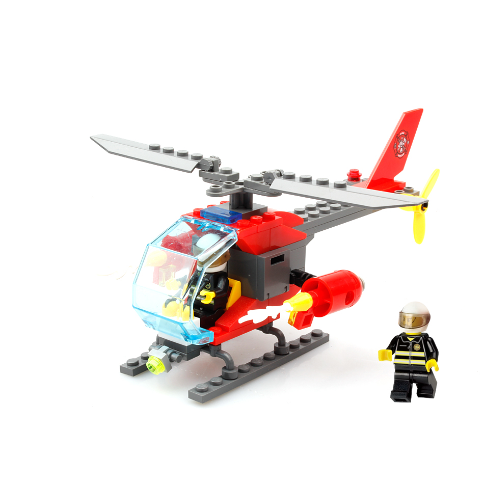 KAZI 83pcs Firefighting Fire helicopter car Fireman DIY Building Blocks compatible legoed Educational Bricks Toys for Children kazi 608pcs pirates armada flagship building blocks brinquedos caribbean warship sets the black pearl compatible with bricks