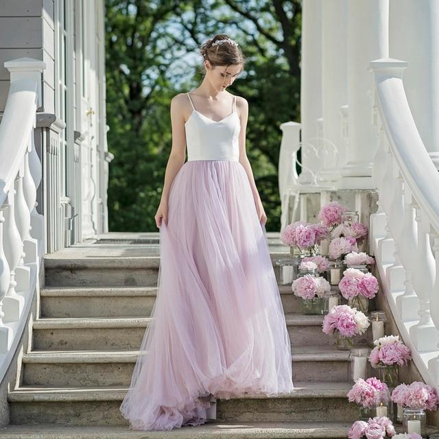 Simple Lilac Beach Wedding Dresses Tulle Spaghetti Straps 2018 Romantic Mariage Bridal Dress Backless Vestido de noiva White Top