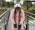 Winter Warm Hat Scarf Glove Grey Wolf  Animal Cosplay Cap