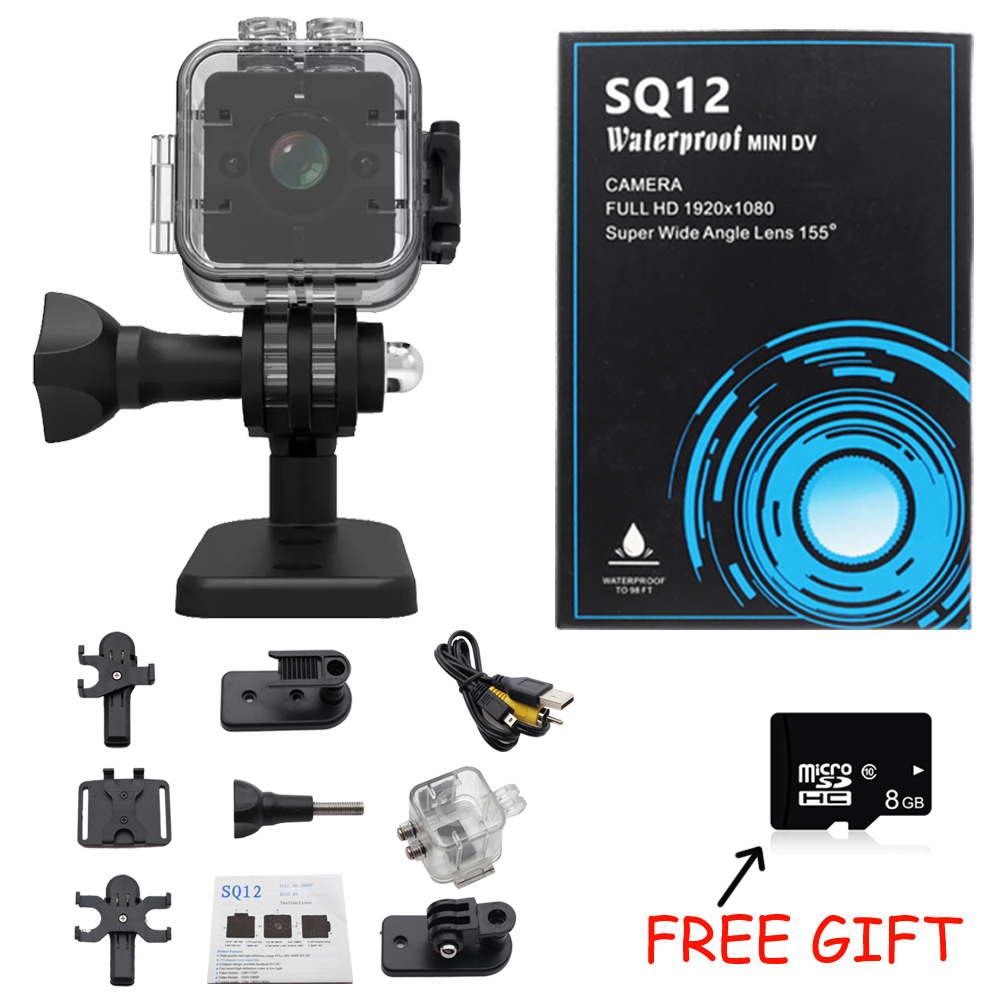 100% Original SQ11 SQ12 HD 1080P Wide Angle Waterproof MINI Camcorder DVR Mini video camera Sport camera PK SQ9 SQ 11 SQ 12