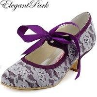 Kadın Düğün Ayakkabı A3039 Mor Kapalı Toe Düşük Topuk Mary Jane Şerit Kravat Dantel Gelin Nedime Gelin Kadın Gelinlik Ayakkabı siyah