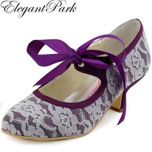 Beau Woman Wedding Shoes A3039 Purple Closed Toe Low Heel Mary Jane Ribbon Tie  Lace Bride Bridesmaid