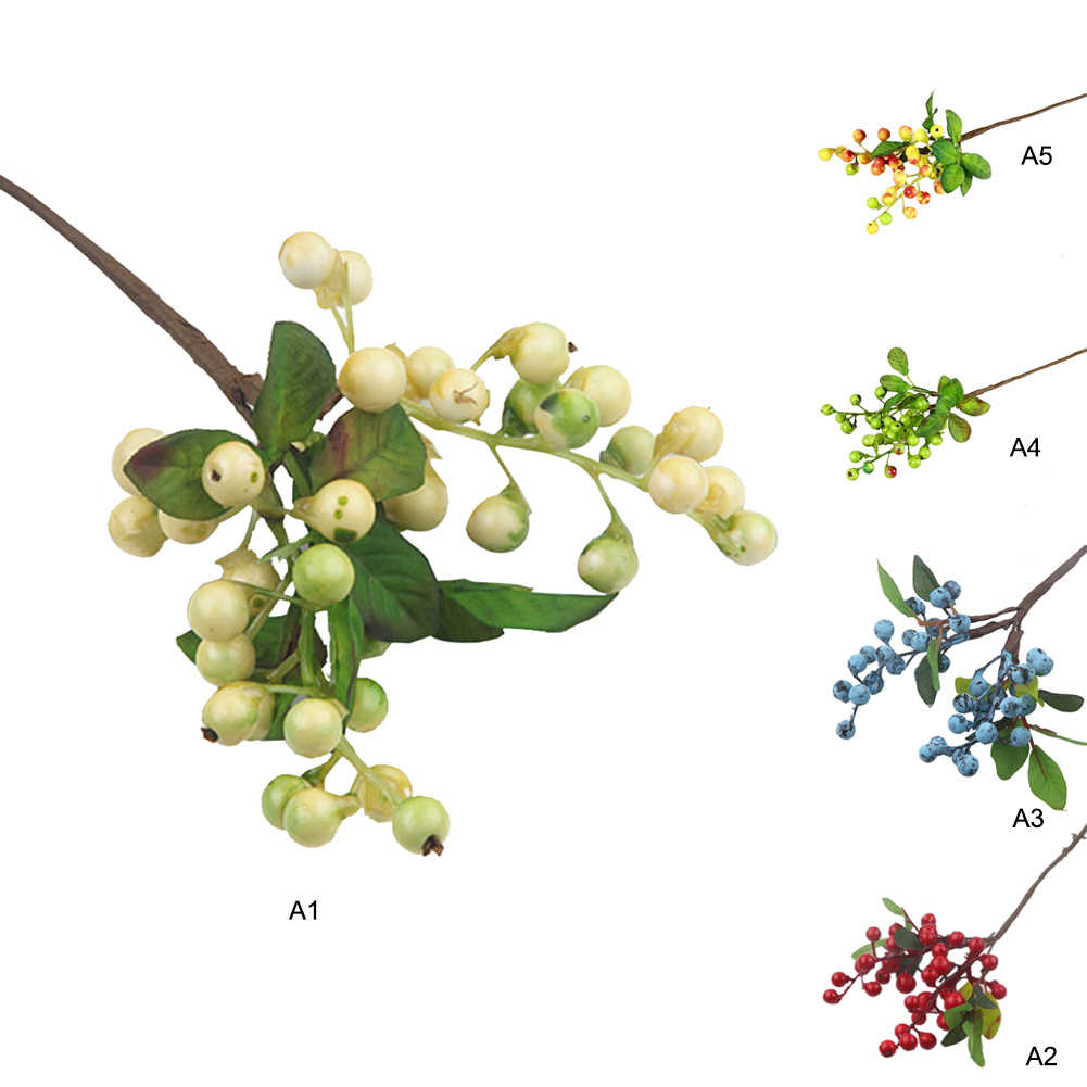 25cm Artificial Flowers Latex Real Touch Fruits Cherry Christmas Berries For Wedding Diy Gift Box Decor Artificial Fruit Flower