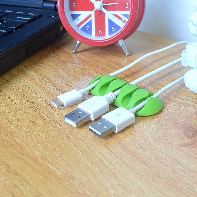 ZUCZUG de alta calidad enrollador de Cable auricular organizador de Cable Almacenamiento de alambre cargador de silicona soporte de Cable Clips para MP3 ,MP4, auricular
