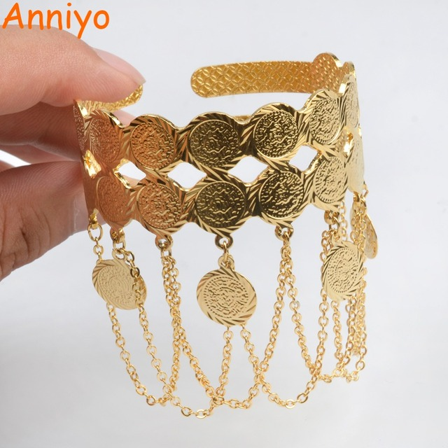 Anniyo Metal Coin Bangles for Women's, Arab Coins Charm Bracelet The Middle East, African Jewelry Muslim/Islam Gifts #073706