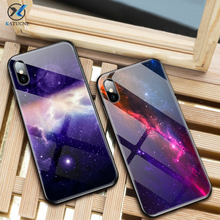 Luxury Star Glass Phone Case For iPhone 7 6 6S 8 Plus 10 Silicone Star Space Pattern Case For iPhone XS MAX XR X Cute Back Cover стоимость