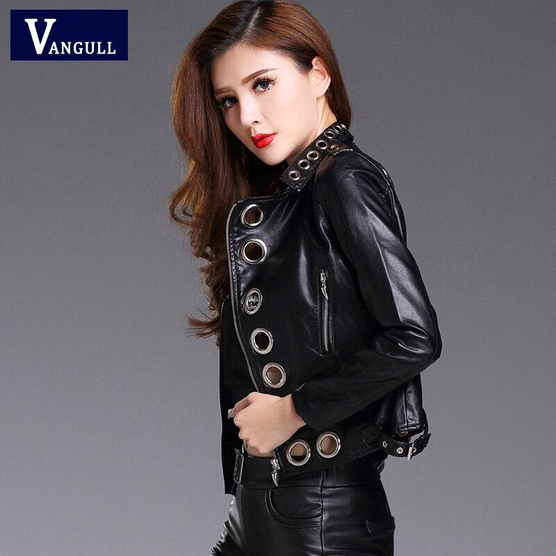 VANGULL Zipper Black Pu   Leather   Coat Jacket 2019 New Women Eyelet Moto Jacket Zipper Basic Jacket Women Punk Outwear Coat