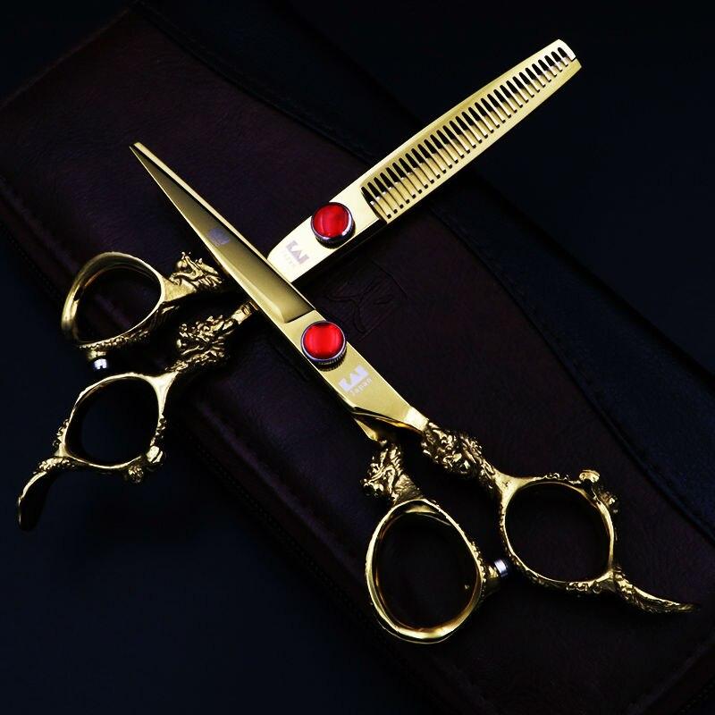 Japan Kasho 6 Inch High Quality Professional Hairdressing Scissors Set Hair Cutting Thinning Barber Shears Kit Salon Equipment