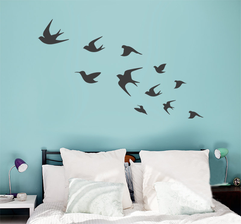 Bird wall decals flying birds vinyls diy wall art interior for Interior wall art