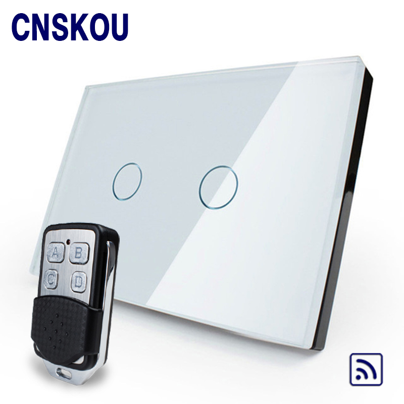 Cnskou Smart Home US 2 Gang Remote Control Touch Switch,Crystal Glass Panel,Wall Screen light Switch for Led Lamp smart home uk 1 gang 1 way crystal glass panel smart remote switch 220v touch screen light switch remote switch with controller