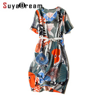 Women Belted Silk dress 100% Real silk Floral printed Mid Calf length Silk crepe dresses 2018 Fall New