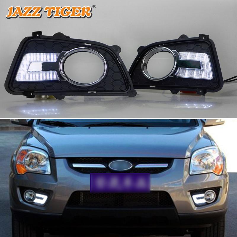 JAZZ TIGER 2PCS Auto Dimming Function 12V Car Driving Lamp LED Daytime Running Light DRL Daylight For Kia Sportage 2009 2010