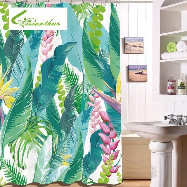 Green Leaf Shower Curtain Tropical Plants Printing Custom Curtain ...
