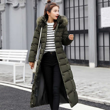 FTLZZ 2019 Women Long Cotton Parkas False Fur Collar Hooded Coat Winter Casual Slim Long Padded Jackets Wadded Snow Overcoat(China)
