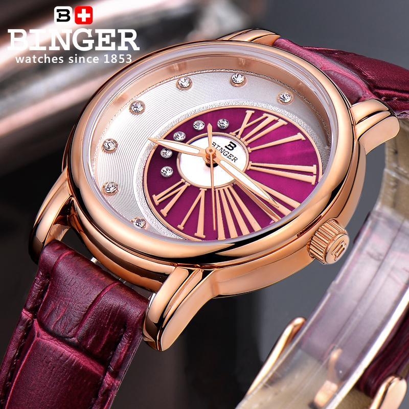 Suisse Binger montres pour femmes diamant de luxe top marque horloge bracelet en cuir quartz étanche montres B1137 5-in Montres femme from Montres    2