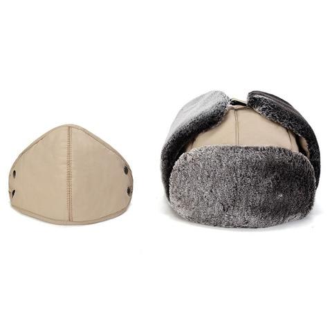 QDKPOTC Winter Cold protection Warm Bomber Hats Men Snow Caps Thicken Unisex Bomber Hat Masks Cap Casual  Bone Hats Lahore